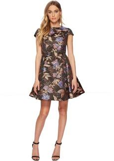 ROMEO & JULIET COUTURE Short Sleeve Metallic Flower Print Dress