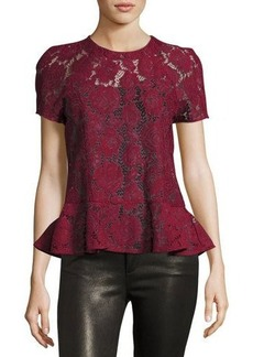 Romeo & Juliet Couture Short-Sleeve Sheer Lace Peplum Top