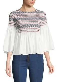 Romeo & Juliet Couture Smocked Bell-Sleeve Blouse