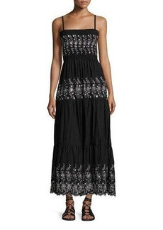 Romeo & Juliet Couture Smocked-Bodice Embroidered Maxi Dress