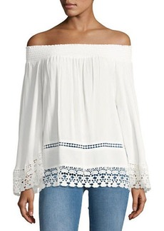 Romeo & Juliet Couture Smocked Off-the-Shoulder Blouse