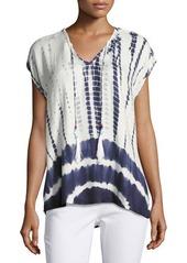 Romeo & Juliet Couture Tie-Dye Chiffon Top w/ Beaded Front Ties