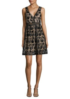 Romeo & Juliet Couture V-Neck Floral-Lace Fit-&-Flare Dress