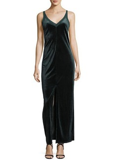 Romeo & Juliet Couture V-Neck Velvet & Mesh Maxi Dress