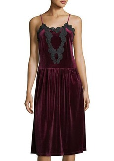Romeo & Juliet Couture Velvet Pleated-Skirt Slip Dress