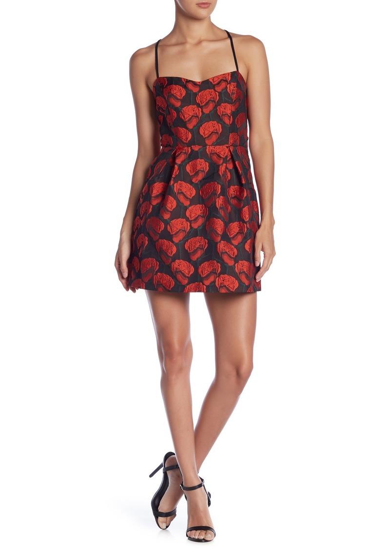 Rose Printed Sleeveless Jacquard Dress