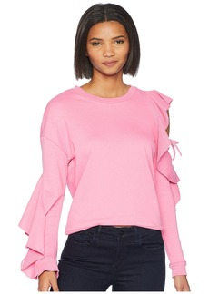 Romeo & Juliet Couture Ruffle Cold Shoulder Sweatshirt