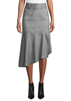 Romeo & Juliet Couture Ruffle-Hem Check Pencil Skirt