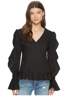Romeo & Juliet Couture Ruffle Sleeve Blouse w/ V-Neckline