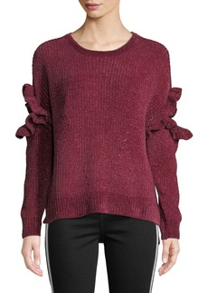 Romeo & Juliet Couture Ruffle Sleeve Chenille Pullover Sweater