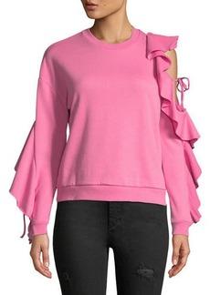 Romeo & Juliet Couture Ruffle-Sleeve Cold-Shoulder Sweatshirt