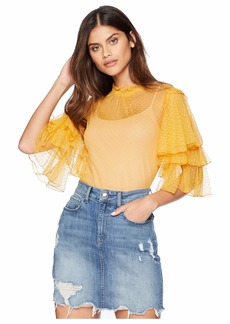 Romeo & Juliet Couture Ruffle Sleeve Mesh Top