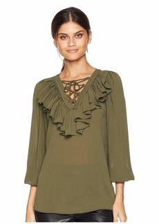 Romeo & Juliet Couture Ruffle Tie-Up Detail Blouse