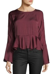 Romeo & Juliet Couture Satin Bell-Sleeve Self-Tie Peplum Top