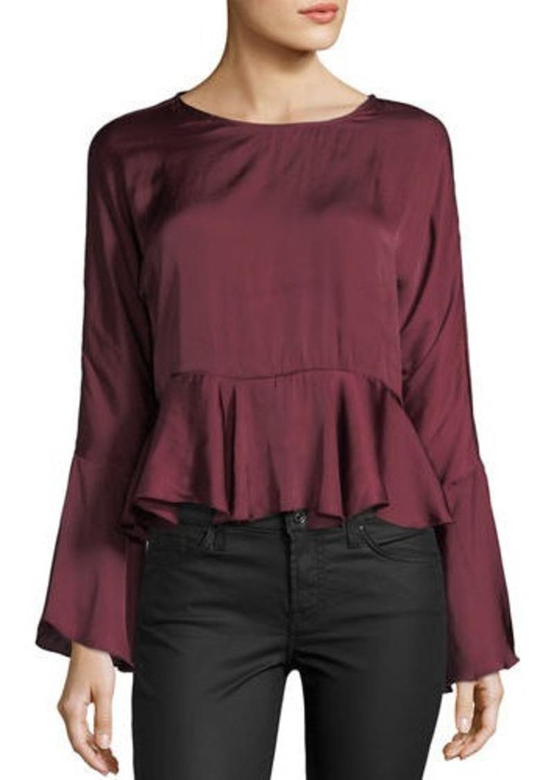 Romeo & Juliet Couture Satin Bell-Sleeve Self-Tie Peplum Top