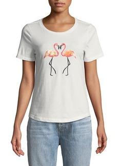 Romeo & Juliet Couture Sequin-Flamingo Crewneck Tee
