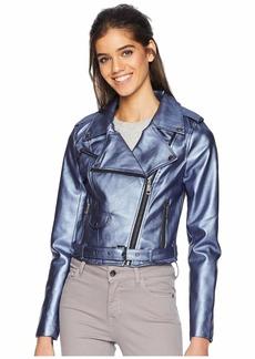 Romeo & Juliet Couture Shiny Faux Leather Biker Jacket