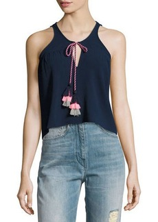 Romeo & Juliet Couture Sleeveless Chiffon Braided Tassels Tank Top