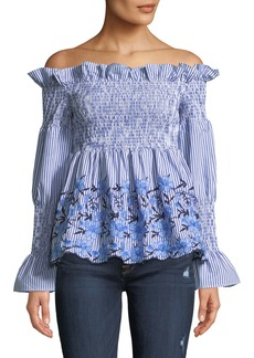 Romeo & Juliet Couture Smocked Off-The-Shoulder Embroidered Blouse