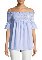 Romeo & Juliet Couture Smocked Off-The-Shoulder Shirt