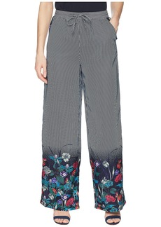 Romeo & Juliet Couture Stripe Soft Pants w/ Floral Print at Bottom