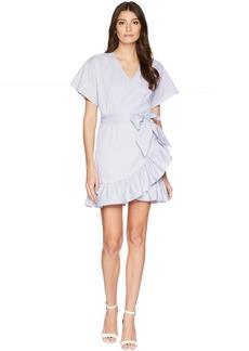 Romeo & Juliet Couture Striped Wrap Dress w/ Tie-Up Waist