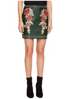 Romeo & Juliet Couture Studded Embroidered PU Mini Skirt