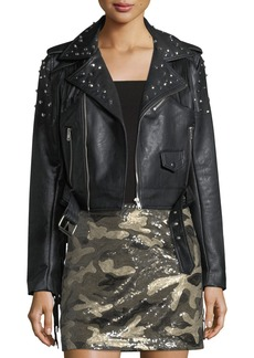 Romeo & Juliet Couture Studded Fringe Faux-Leather Moto Jacket