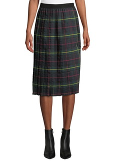 Romeo & Juliet Couture Tartan Pleated Midi Skirt