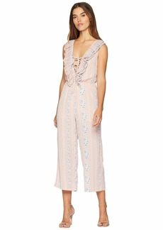 Romeo & Juliet Couture Tie Up Front and Print Jumpsuit