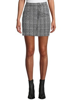 Romeo & Juliet Couture Tweed Asymmetric Zip Mini Skirt