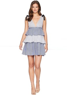 Romeo & Juliet Couture V-Neckline Tiered Midi Dress