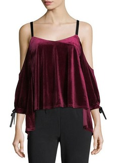 Romeo & Juliet Couture Velvet & Ribbon Cold-Shoulder Blouse