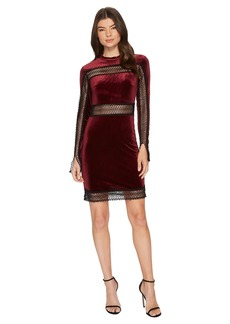 Romeo & Juliet Couture Velvet w/ Sheer Lace Trim Dress