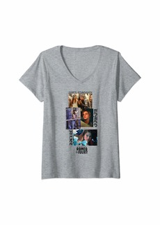 Romeo & Juliet Couture Womens Romeo & Juliet Lovers Photo Collage V-Neck T-Shirt