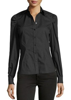 Romeo & Juliet Couture Woven Button-Front Long-Sleeve Top