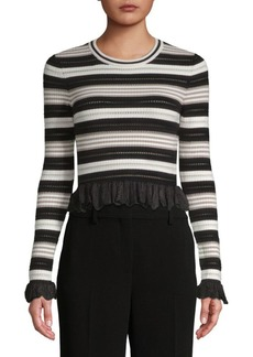Ronny Kobo Adelaide Striped Cropped Top