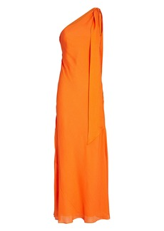 Ronny Kobo Draped One-Shoulder Chiffon Dress