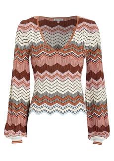Ronny Kobo Elexis Rib Knit Chevron Sweater