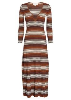 Ronny Kobo Fiona Striped Rib Knit Midi Dress