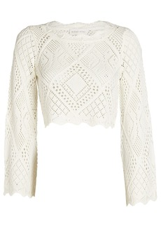 Ronny Kobo Gallia Crochet Knit Terry Top