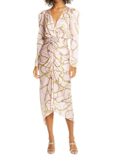 Ronny Kobo Astrid Chain Print Long Sleeve Silk Blend Jacquard Midi Dress