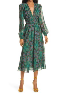Ronny Kobo Tula Print Plunge Neck Long Sleeve Midi Dress