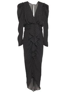 Ronny Kobo Woman Draped Crystal-embellished Crepon Midi Dress Black