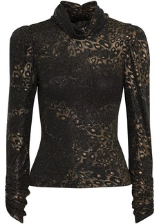 Ronny Kobo Woman Viada Ruched Metallic Leopard-jacquard Top Black