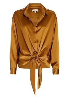 Ronny Kobo Taliah Tie-Front Silk Blouse