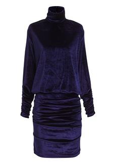 Ronny Kobo Turtleneck Velvet Mini Dress