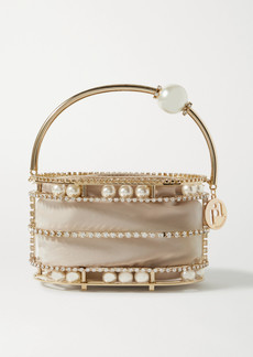Rosantica Abaco Embellished Gold-tone And Crepe De Chine Tote
