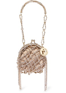 Rosantica Baudelaire Crystal-embellished Gold-tone And Satin Tote