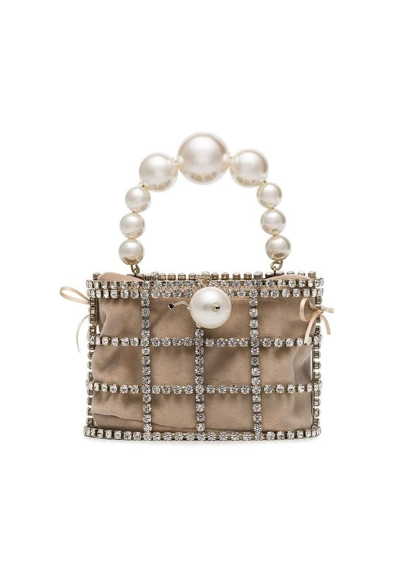 Rosantica beige Holli pearl embellished brass cage bag